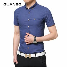 Wholesale Flax Dress Xl - Wholesale-Brand clothing Men's short-sleeved shirt camisa 2016 Summer New high quality Flax Breathable Business casual solid color shirt