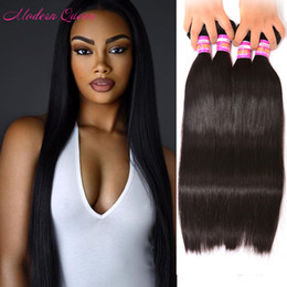 Wholesale Cheapest Free Shipping Human Hairs - 7A Cheapest Grade Brazilian Hair Weave Bulk Modern Queen Products So Soft 4 Piece Brazilian Straight Human Hair Weft For Sale Free Shipping
