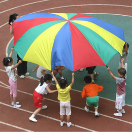 Wholesale Gymnastic Cloth Children - Wholesale- Dia 2M Child Kid Sports Development Outdoor Rainbow Umbrella Parachute Toy Jump-sack Ballute Play Parachute 8 Bracelet