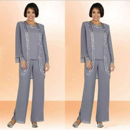 Wholesale Classy Wedding Dresses Sleeves - Classy Gray Mother Of Bride Pant Suits Jewel Neck Cheap Sequined Wedding Guest Dress With Long Sleeves Jacket Chiffon Mothers Dresses