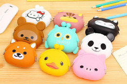 Wholesale Japanese Coin Ship - Free shipping 100pcs Cute Mini key Wallet bag Women Silicone Coin Purse Japanese Candy Color lovely Animals Jelly Silicone Coin bag