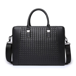 Wholesale pure white handbags - Wholesale- Hot Sale enuine leather bag large capacity handbag Pure Manual Knitting Business Handbag Briefcase Men Messenger Bags