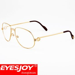 Wholesale Square Eyeglass Fashion Frames - Metal Frame Designer Optical Glasses Myopia Reading Glasses Clear lens Eyeglasses Retro Business Glasses with Box CT1185212EG