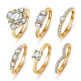 Wholesale 18k Austrian Crystal Ring - Wholesale-(6pcs  set) Hot Shiny 18K Gold Crystal Austrian Zircon Rings Set Noble Charms Wedding Rings For Women Girls Sapphire Jewelry