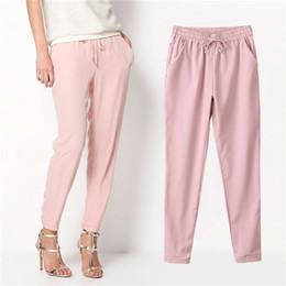 Wholesale Cargo Pant Sales - 7 Colors 2016 Hot Sale Chiffon Pants Autumn Women Long Pants Fashion Harem Pants Drawstring Elastic Waist Pants Women Trousers