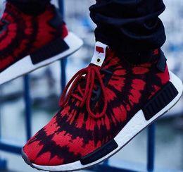 Wholesale Nice 45 - 2017 Newest Original R1 NMD RUNNER PK Primeknit Mission Nice kicks Boost Spider-Man Sneaker Men & Women Lover red Running Sport Shoes 36-45
