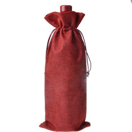 Wholesale Eco Bags Linen - 100pcs Jute Wine Bottle Bags 16cmX36cm Champagne Covers Linen Drawstring Christmas Wedding Party Gift Pouches Packaging