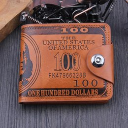 Wholesale Buckle Shorts - US Dollar Style Buckles PU Bifold Wallet Travel Cash Hasp Case Black Brown Sewing Look SIM Card Mens Vintage Look A395