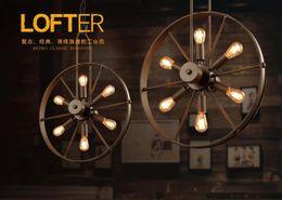 Wholesale 19 Wheels - Loft led pendant lamp wind wheel restaurant industrial lighting fixture vintage chandelier coffee restaurant indoor lighting