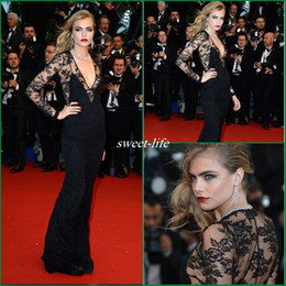 Wholesale Great Gatsby White Dress - Cara Delevingne Sheer Top V-Neck Long Sleeves Black Lace Celebrity Evening Dresses For Great Gatsby Premiere At Cannes Red Carpet Prom Gowns