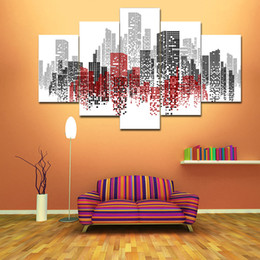 Wholesale Paris Canvas Wall Art - Hot Sale Oil Paintings Wall Decor City Buildings Scenery Romantic Paris Painting Abstract Unframed Wall Art Paint For Home Decor 5 Panels