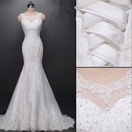 Wholesale Sequined Wrap Dress - Exclusive Custom Real Picture Scoop Backless Beading Pearls Sequined Appliques Lace Mermaid Wedding Dresses 2016 New