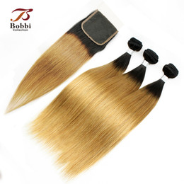 Wholesale Hair Color Roots - Silky Straight Colored Peruvian Hair Ombre Human Hair T1b 27 Dark Root Honey Blonde Extensions Ombre Hair 3 Bundles with Lace Closure