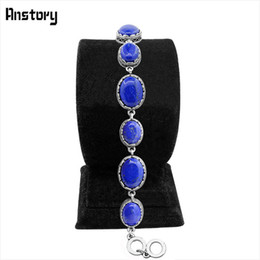 Wholesale Gold Looking Jewelry Wholesale - Wholesale- Oval Lapis Lazuli Bracelet Vintage Look Antique Silver Plated Flower Pendant Fashion Jewelry TB276