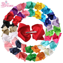 Wholesale Alligator Clip Sizes - XIMA 20pcs 8''Big Size Ribbon Hair Bows with Alligator Clip Hair Accessories For Women Girls Hair Clip Headwear 20 Colors