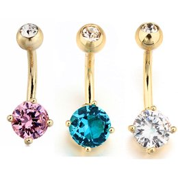 Wholesale Surgical Steel Navel - 10pcs lot 2016 Clear Crystal 316L Surgical Steel Blue Pink White Rhinestone Belly Ring Body Piercing Dangle 14G Gold Plated Navel Ring