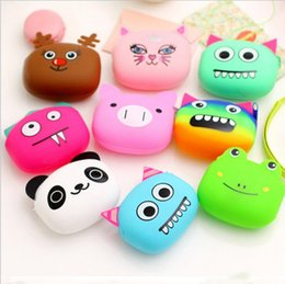 Wholesale Candy Handbags Wholesale - Silicone Coin Purse Lovely Kawaii Candy Color Cartoon Animal Women handbags Girls Wallet Multicolor Jelly Purses Kid Christmas Gift
