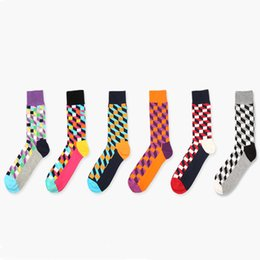 Wholesale Colorful Knee Socks - Wholesale-New colorful happy socks style Square cotton socks for men women Gentleman men's sock