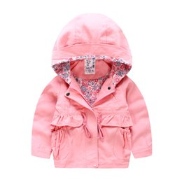 Wholesale Girls Yellow Jacket Coat - Autumn Girls hooded Jackets hoodies New 2016 Korean style Brand Fashion lining shirt trench coat String waist middle length children trench
