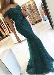 Wholesale Emerald Short Dresses - Emerald Green Lace Appliques Evening Dresses 2017 Robe De Soiree Beaded Crystal Prom Gowns Backless Sweatheart Mermaid Vestido de Fiesta