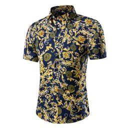 Wholesale Wholesale Cheap White Polyester Shirts - Wholesale-Cheap Shirt 2016 Fashion Mens Short Sleeve Hawaiian Shirt Summer Casual Floral Shirts For Men Plus Size M-5XL
