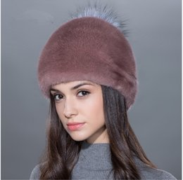 Wholesale Mink Hat Grey - LUCKYFUR Women fur hat for winter natural whole plate mink fur with silver Pompom beanies high quality fashional hats