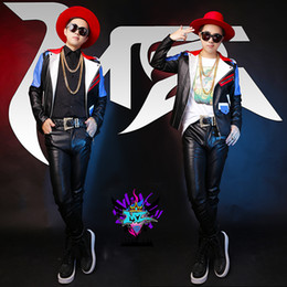 Wholesale Original Leather Jackets - Fall-MZ original male singer male DJ bigbang rights Zhi-Long GD costumes Men's red and blue stitching leather motorcycle jacket