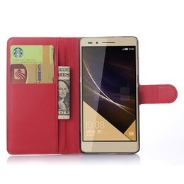 Wholesale Chinese Celular - For Huawei Honor 7 Case Luxury PU Leather Flip Wallet Back Case For Huawei Honor7 Pouch Stand Capa Celular Cover