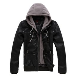 Wholesale Short Leather Jacket Hood - Fall-2015 New Fashion Mens Casual Leather Jacket PU Leather Motorcycle Jackets With Hood Punk Leather Jackets For Men Coat Plus Size