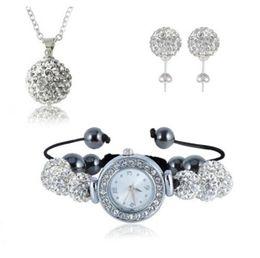 Wholesale Shamballa Watch Black - 925 Silver Snake Chain Luxury Shamballa Set 10mm Crystal Rhinestone Ball Necklace Pendant Bracelet Stud Earrings Watch Bracelets Jewelry Set