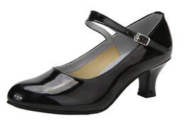 Wholesale Ballroom Latin Black Shoe - Womens Kitten Heel PU Leather Modern Latin Dance Shoes Y-strap Closed-toe Ballroom Practice Latin Sport Shoes