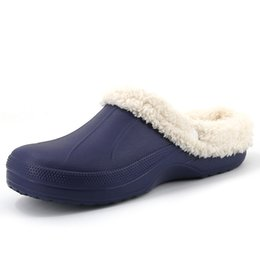 Wholesale Warm House Slippers Women - Wholesale- 2016 Winter Warm Slippers Women&Men Shoes Indoor Cotton Pantoffels Casual Clogs Flip Flops With Fur Easy ON House Floor Slippers