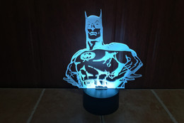 Wholesale Batman Ball - 3D Batman Illusion Night Lamp 10 RGB LEDs DC 5V USB Powered with AA Battery Bin Factory Wholesale