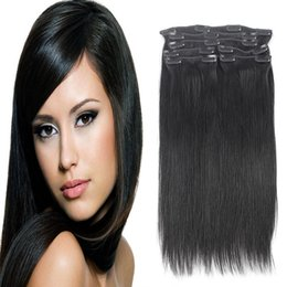 Wholesale Keratin Curly Hair - YSG Virgin hair Extension Malaysian Straight Keratin Human Clip In Hair Extension Natural Black 100g 120g Can Be Bought Wholesale Price