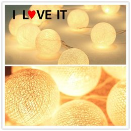 Wholesale Wedding Cotton Ball Decoration - Wholesale- 2m 3m 4m 5m 10m Battery Operated Cotton Balls String Lights Christmas LED Garland Holiday Party Wedding Baby Kid Room Decoration