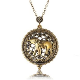 Wholesale Magnifying Glass Gold - Symbol Elephant Hollow Magnifying Circle Glass Pendant Necklace Gold Plated Antique Design Necklace For Women Grils Jewelry