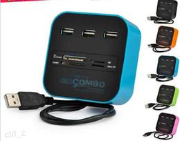 Lector mp online-COMBO 3 puertos usb hub 2.0 HUB + lector de tarjetas múltiples USB All In One para SD / MMC / M2 / MS / MP Pro