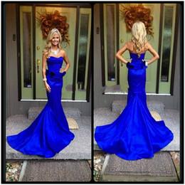 Wholesale Pictures Pretty Black Women - 2017 Royal Blue Mermaid Dresses Evening Party Peplum Waist Ruffles Pretty Strapless Sweetheart Satin Dress For Pageant Women