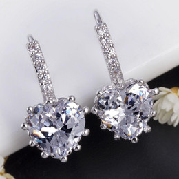 Wholesale Crystals Diamond Stones - Wedding CZ Diamond Sapphire Jewelry Stud Earrings Blue Crystal Earring For Women Blue Stones Ear Clips Cuff Aretes De Mujer