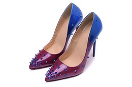 Wholesale Wedge Dress Shoes Wedding - Nude Patent Leather Super Fine Root with Spikes Red Bottom High Heels Women Shoes 12cm High Heel Ladies Female Shoes Footwear Pumps