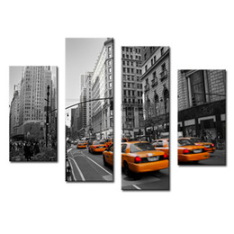 Wholesale Framing Stretched Canvas - Amosi Art-4 Pieces Modern Stretched Canvas Print of Yellow Taxi New York Street Photo Print Canvas for Wall Home Decor with Wooden Framed