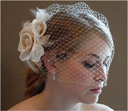 2019 casamento pena pena Véus de gaiola de casamento Champagne Ivory White Flowers penas Birdcage véu nupcial do casamento peças de cabelo de noiva acessórios BV03 casamento pena pena barato