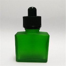 Wholesale Green Glass Dropper Bottles 15ml - Free sample 15ml Frosted green Glass tube dropper bottle Flat square bottle Cosmetic bottle with Childproof cap & Rubber hot sales