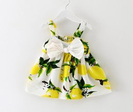 Wholesale Cheap American Girl - baby girl lemon print dresses 2016 summer girls dress kids cotton suspender dress children big bows dresses cheap sleeveless dress wholesale