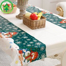 Wholesale Print Christmas Table Runner - PVC Table Cloth Disposable tablecloth Holiday Decorations Party Tools 4 colors 110*180cm table runner 2018 Christmas Free Shipping