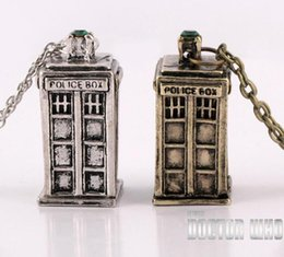 Wholesale Mysterious Box - Telephone Booth necklace Doctor who Tardis pendant necklace Mysterious Doctor Police Box Pendant Necklace Chains Jewelry