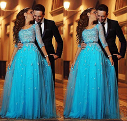 Wholesale Half Sleeve Formal - Blue Lace Arabic Evening Dresses Scoop Half Sleeves A-line Tulle Prom Dresses Vintage Cheap Formal Evening Gowns