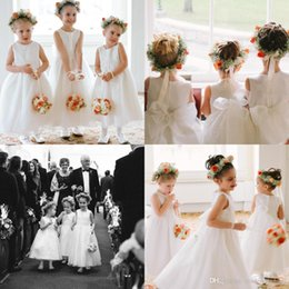 Wholesale Infants Birthday - Infant White Lovely Flower Girls Dresses Jewel Neckline A Line Ankle Length With Bow back Wedding Birthday Party Girls Gowns BO9286