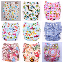 Wholesale Cartoons Diapers - Cartoon Animal Baby Diaper Covers AIO Cloth nappy TPU Cloth Diapers Colorful Zoo 40 color u pick