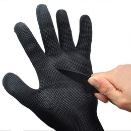 Wholesale Butchers Glove - Gloves Proof Protect Stainless Steel Wire Safety Gloves Cut Metal Mesh Butcher Anti-cutting breathable Travel Kit black free shipping #54